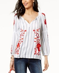 Inc International Concepts I.N.C. Embroidered Striped Peasant Top Created For Macy's Bright White