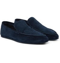 Loro Piana Walk At Home Cashmere Lined Suede Slippers Blue