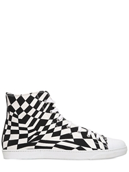 Gareth Pugh Printed Cotton Canvas Hi Top Sneakers Black White