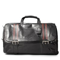 Maxwell Scott Bags Luxury Italian Leather Men's Duffle Bag Dinom Night Black