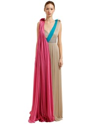 Vionnet Butterfly Pleated Silk Muslin Dress Multicolor
