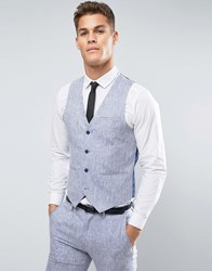 Only And Sons Skinny Waistcoat In Linen Navy