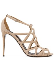 Dolce And Gabbana Open Toe Strapped Sandals Women Leather Suede 41 Nude Neutrals