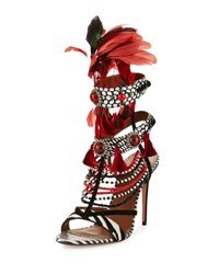 Aquazzura Voodoo Beaded Multi Strap Sandal Black White Black White