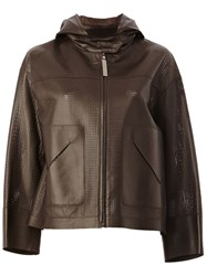 Maison Ullens Perforated Hooded Jacket Brown