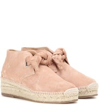 Rag And Bone Gena Suede Espadrille Ankle Boots Pink