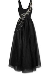 Prada Crystal Embellished Silk And Tulle Gown Black