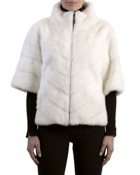 Gorski Chevron Mink Fur Topper Jacket Bleached White