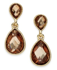 Style And Co. Earrings Gold Tone Brown Stone Double Teardrop Earrings