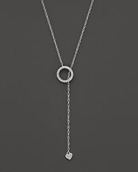 Bloomingdale's Diamond Circle And Heart Lariat Necklace In 14K White Gold .10 Ct. T.W.