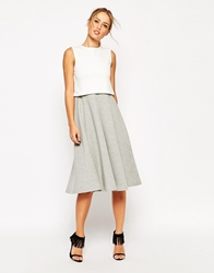 Asos Structured Skater Dress With Overlay In Colourblock Greymarl