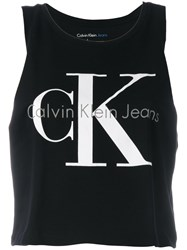 Calvin Klein Jeans Logo Print Tank Top Women Cotton L Black