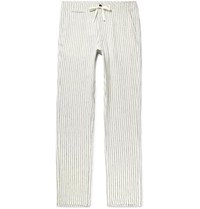 Freemans Sporting Club Slim Fit Striped Linen Drawstring Trousers Beige