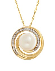 Lord And Taylor 9Mm Freshwater Pearl Diamonds 14K Yellow Gold Swirl Pendant Necklace