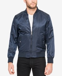 Guess Men's Wind And Water Resistant Bomber Jacket Navy