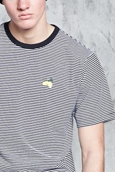 Forever 21 Striped Embroidered Lemon Tee Black White
