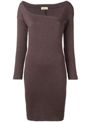 Romeo Gigli Vintage Asymmetric Neck Fitted Dress Brown