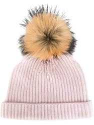 N.Peal Detachable Pompom Ribbed Beanie Pink And Purple