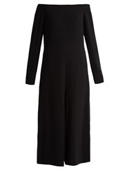 Tibi Off The Shoulder Crepe Jumpsuit Black