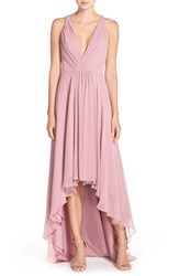 Monique Lhuillier Bridesmaids Women's Deep V Neck Chiffon High Low Gown Cerise