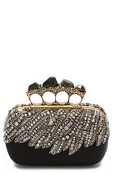 Alexander Mcqueen Eagle Wing Knuckle Box Clutch Black