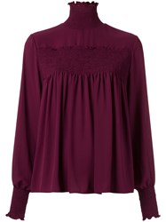 Olympiah Pleated Turtle Neck Top Women Polyester 40 Red