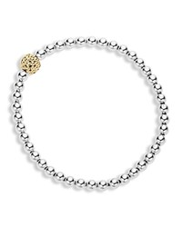Lagos 18K Gold And Sterling Silver Stretch Bracelet With Caviar Icon Ball Silver Gold