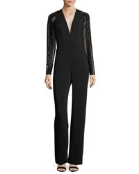 Pamella Roland Sequined Long Sleeve Crepe Jumpsuit Black White