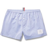 Thom Browne Cotton Poplin Boxer Shorts Blue