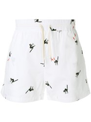 Band Of Outsiders Angry Cat Track Shorts White