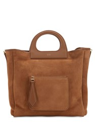 Max Mara Grac11s Reversible Suede And Shearling Bag Camel