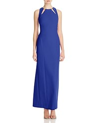 Nicole Miller Cutout Keyhole Gown Blueberry