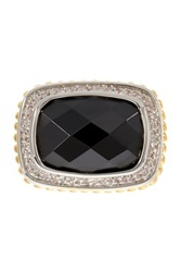 Two Tone East West Black And White Simulated Diamond Cz Ring