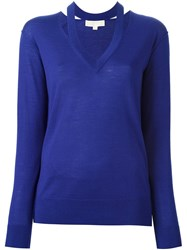 Michael Michael Kors Cut Out V Neck Jumper Blue