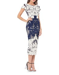 Js Collections Boatneck Two Tone Embroidered Dress Ivory Navy