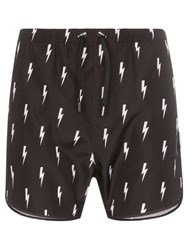Neil Barrett Lightning Bolt Print Swim Shorts Black