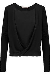 Halston Silk And Stretch Jersey Top Black