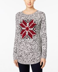Styleandco. Style Co. Melange Snowflake Graphic Sweater Only At Macy's Deep Black Combo