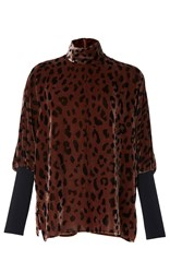 Tibi Cheetah Velvet Turtleneck Top Print