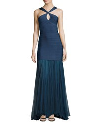 Herve Leger Sleeveless Keyhole Bandage Gown With Chiffon Skirt China Blue