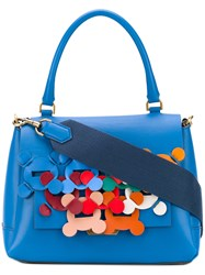 Anya Hindmarch Embroidered Tote Women Leather One Size Blue