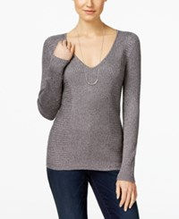 Inc International Concepts Metallic V Neck Sweater Only At Macy's Silver