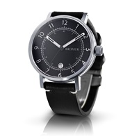 Bravur Watches Steel Case Black Face And Black Strap Black Grey Silver