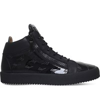 Giuseppe Zanotti Logo Patent Leather Mid Top Trainers Black