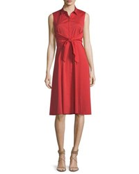 Lafayette 148 New York Mariel Tie Detail Poplin Dress Salsa