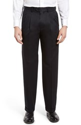 Nordstrom Men's Big And Tall Men's Shop 'Classic' Supima Cotton Pleated Trousers Black Caviar