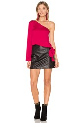 L'academie The One Shoulder Blouse Red