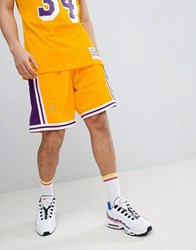 Mitchell And Ness Nba Lakers Swingman Shorts In Yellow