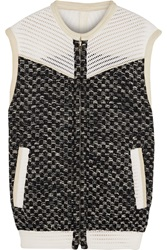 Iro Mesh And Suede Trimmed Tweed Vest Black