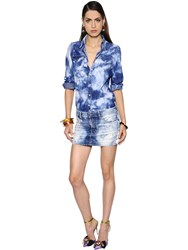 Dsquared Bleached Cotton Denim Mini Dress